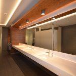 CAMPUS AGROPUR : panneaux muraux (lambris), encadrement de vanité en noyer