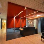 GAGNON & BRUNET AVOCATS : comptoir de réception, panneaux décoratifs, boiseries, portes et cadres