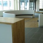 BELL CAMPUS, PHASE 2 : planters, bar counter and curved sitting area