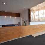 EVOLO 2 : walnut reception desk and credenza