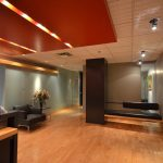 GAGNON & BRUNET AVOCATS : reception desk, glass featured wall and ceiling, doors and frames