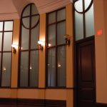 BETH ORA CONGREGATION : cherry wood doors and frames, window frames and painted pilasters