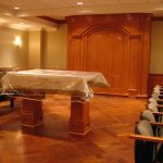 SALOMON SYNAGOGUE : cherry built-in cabinets and wall panels, lecturing table